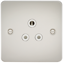 FP5APLW Flat Plate 5A unswitched socket - pearl with white insert