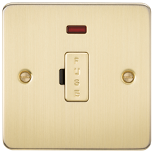 FP6000NBB Flat Plate 13A fused spur unit with neon - brushed brass