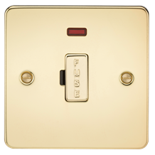 Flat Plate 13A fused spur unit with neon - polished brass