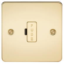 FP6000PB Flat Plate 13A fused spur unit - polished brass