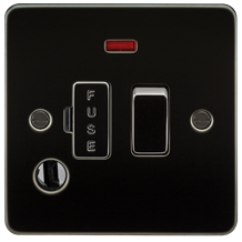 FP6300FGM Flat Plate 13A switched fused spur unit with neon and flex outlet - gu