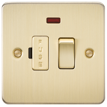 FP6300NBB Flat Plate 13A switched fused spur unit with neon - brushed brass