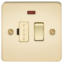 FP6300NPB Flat Plate 13A switched fused spur unit with neon - polished brass