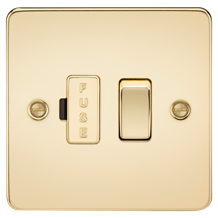 FP6300PB Flat Plate 13A switched fused spur unit - polished brass