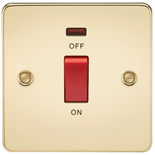 FP8331NPB Flat Plate 45A 1G DP switch with neon - polished brass