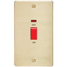 FP8332NBB Flat Plate 45A 2G DP switch with neon - brushed brass