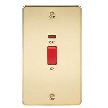 FP8332NPB Flat Plate 45A 2G DP switch with neon - polished brass
