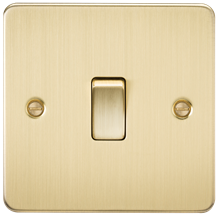 FP8341BB Flat Plate 20A 1G DP switch - brushed brass