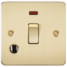 FP8341FBB Flat Plate 20A 1G DP switch with neon & flex outlet - brushed brass