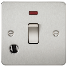 FP8341FBC Flat Plate 20A 1G DP switch with neon & flex outlet - brushed chrome