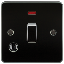 FP8341FGM Flat Plate 20A 1G DP switch with neon & flex outlet - gunmetal