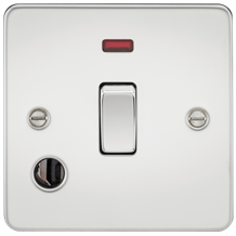 Flat Plate 20A 1G DP switch with neon & flex outlet - polished chrome