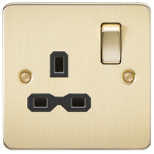 FPR7000BB Flat plate 13A 1G DP switched socket - brushed brass with black insert