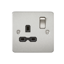 FPR7000BC Flat plate 13A 1G DP switched socket - brushed chrome with black inser