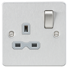FPR7000BCG Flat plate 13A 1G DP switched socket - brushed chrome with grey inser