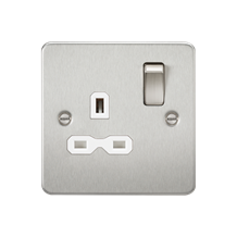 FPR7000BCW Flat plate 13A 1G DP switched socket - brushed chrome with white inse