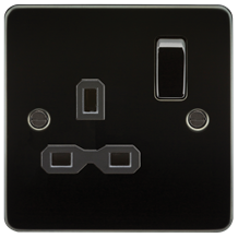 FPR7000GM Flat plate 13A 1G DP switched socket - gunmetal with black insert
