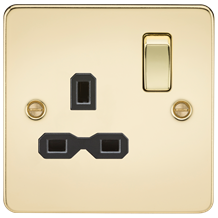FPR7000PB Flat plate 13A 1G DP switched socket - polished brass with black inser
