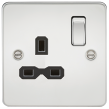 FPR7000PC Flat plate 13A 1G DP switched socket - polished chrome with black inse