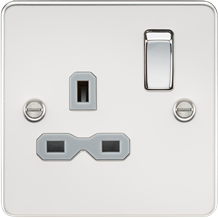 FPR7000PCG Flat plate 13A 1G DP switched socket - polished chrome with grey inse