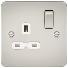 FPR7000PLW Flat plate 13A 1G DP switched socket - pearl with white insert