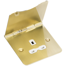 13A 1G unswitched floor socket - brushed brass with white insert