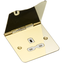 13A 1G unswitched floor socket - polished brass with white insert