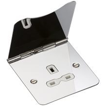 13A 1G unswitched floor socket - polished chrome with white insert