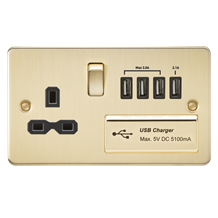 FPR7USB4BB Flat plate 13A switched socket with quad USB charger - brushed brass