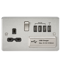 FPR7USB4BC Flat plate 13A switched socket with quad USB charger - brushed chrome