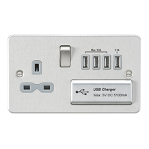FPR7USB4BCG Flat plate 13A switched socket with quad USB charger - brushed chrom