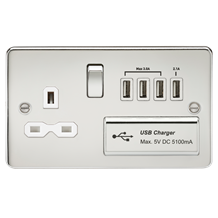 Flat plate 13A switched socket with quad USB charger - polished chrome with whit