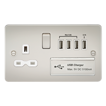 Flat plate 13A switched socket with quad USB charger - pearl with white insert