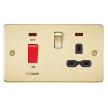 FPR8333NBB Flat plate 45A DP switch and 13A switched socket with neon - brushed
