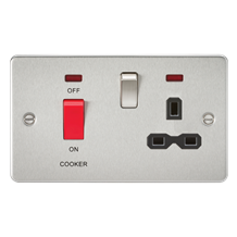 FPR8333NBC Flat plate 45A DP switch and 13A switched socket with neon - brushed