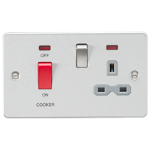 Flat plate 45A DP switch and 13A switched socket with neon - brushed chrome with