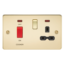 Flat plate 45A DP switch and 13A switched socket with neon - polished brass with