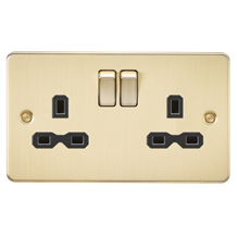 FPR9000BB Flat plate 13A 2G DP switched socket - brushed brass with black insert