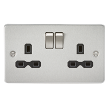 FPR9000BC Flat plate 13A 2G DP switched socket - brushed chrome with black inser