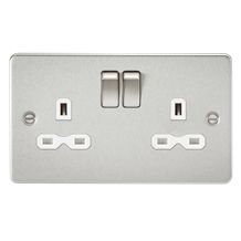 FPR9000BCW Flat plate 13A 2G DP switched socket - brushed chrome with white inse