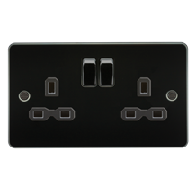 FPR9000GM Flat plate 13A 2G DP switched socket - gunmetal with black insert