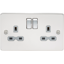 FPR9000PCG Flat plate 13A 2G DP switched socket - polished chrome with grey inse