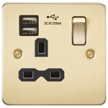 Flat plate 13A 1G switched socket with dual USB charger (2.1A) - brushed brass w