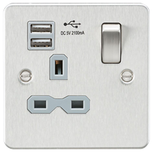 Flat plate 13A 1G switched socket with dual USB charger (2.1A) - brushed chrome