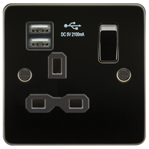 Flat plate 13A 1G switched socket with dual USB charger (2.1A) - gunmetal with b