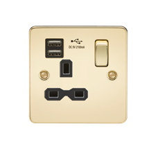 Flat plate 13A 1G switched socket with dual USB charger (2.1A) - polished brass