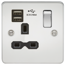 Flat plate 13A 1G switched socket with dual USB charger (2.1A) - polished chrome