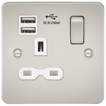 Flat plate 13A 1G switched socket with dual USB charger (2.1A) - pearl with whit