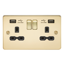 Flat plate 13A 2G switched socket with dual USB charger (2.1A) - polished brass
