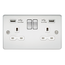 Flat plate 13A 2G switched socket with dual USB charger (2.1A) - polished chrome